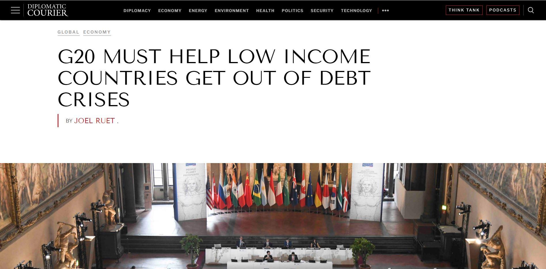 Tribune : Le G20 doit aider les pays à faible revenu à sortir de la crise de la dette